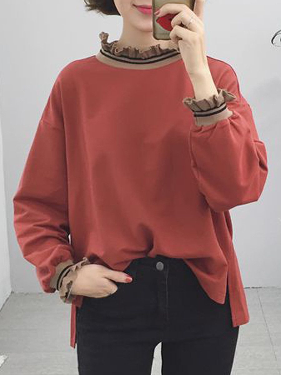 Oversized Band Collar High-Low Sweatshirts