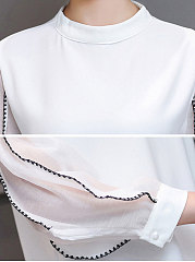 Autumn Spring  Chiffon  Women  Band Collar  Contrast Stitching  Hollow Out  Puff Sleeve  Long Sleeve Blouses