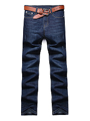 Fitted-Contrast-Trim-Ripped-Straight-Mens-Jeans