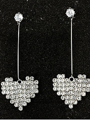 Pair Of Sliver Heart Shape Rhinestone Ear Line Earring