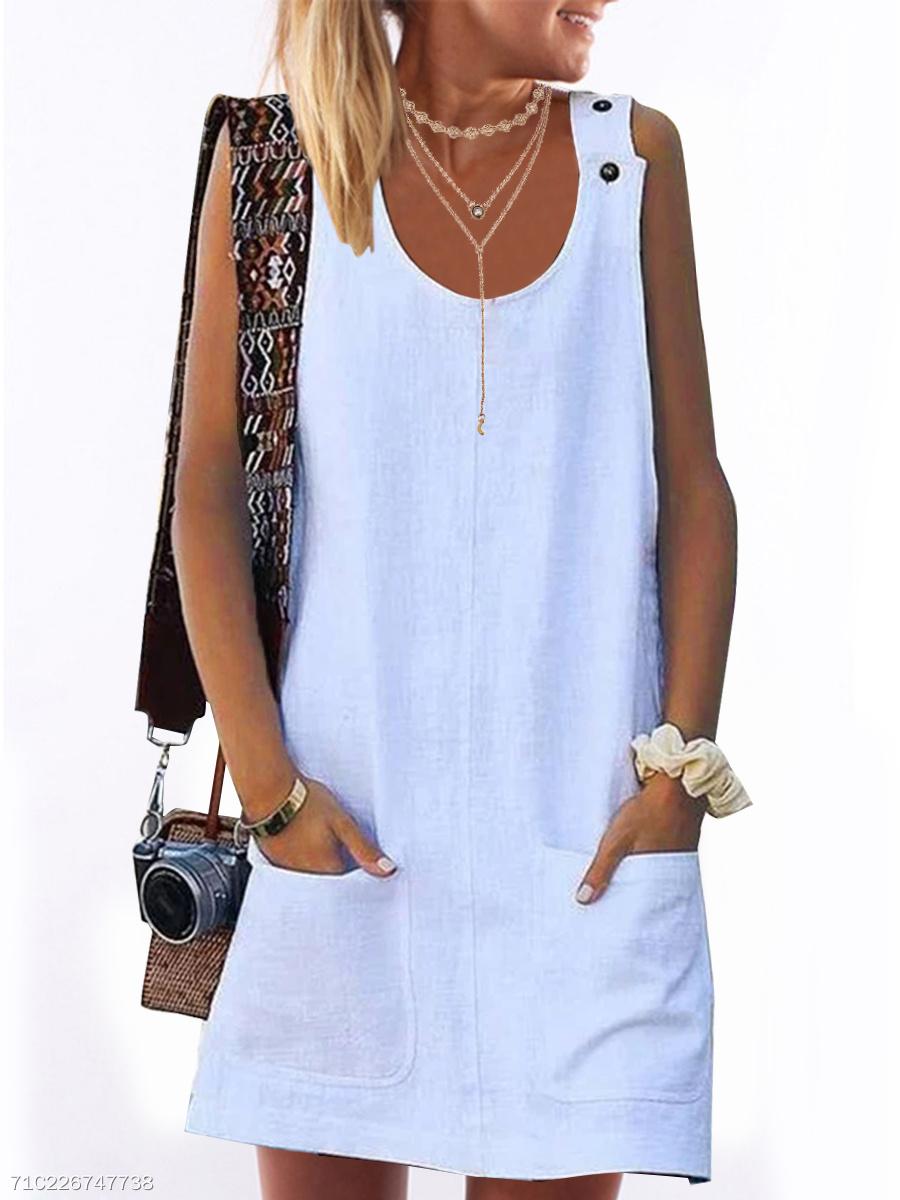 d203aab9d3d Linen Round Neck Plain Shift Dress - fashionMia.com