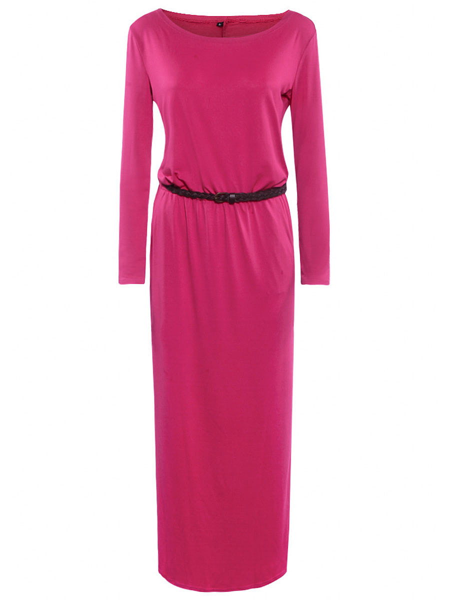 Round Neck Solid Belt Pocket Maxi Dress