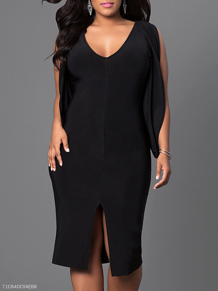 0150b920216df V-Neck Slit Plain Plus Size Bodycon Dresses - fashionMia.com