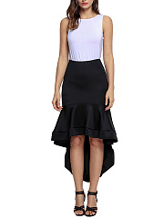 Solid-High-Low-Mermaid-Midi-Skirt