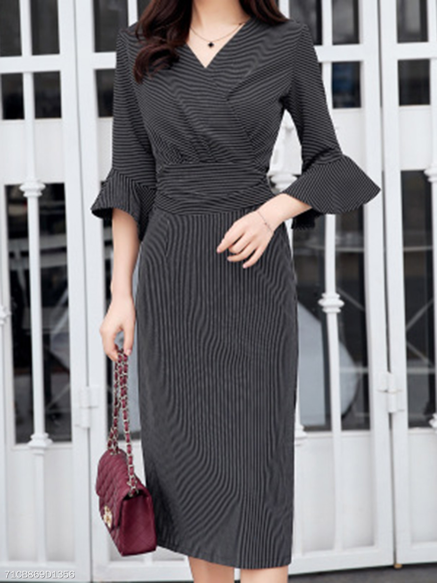 V-Neck Bell Sleeve Side Slit Midi Bodycon Dress