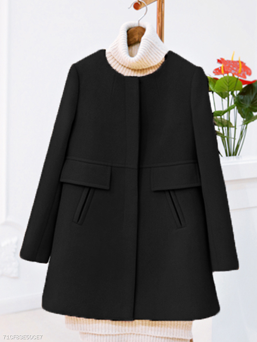 Collarless  Single Breasted Slit Pocket  Plain  Long Sleeve Coats