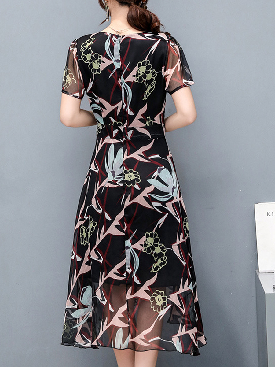 Round Neck  Hollow Out Printed  Chiffon High-Low Skater Dress