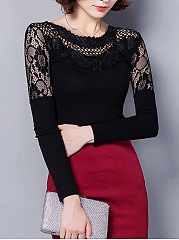 Round Neck  See-Through  Plain Blouse