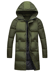 Hooded Plain Pocket Men Longline Padded Coat