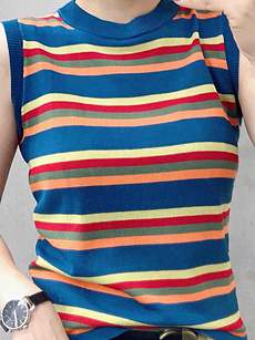 Round Neck  Striped  Sleeveless Sweaters Pullover