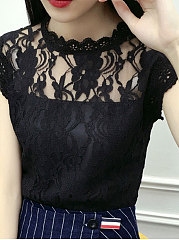 Spring Summer  Cotton Polyester  Women  Round Neck  Decorative Lace See-Through  Lace Plain  Extra Short Blouses