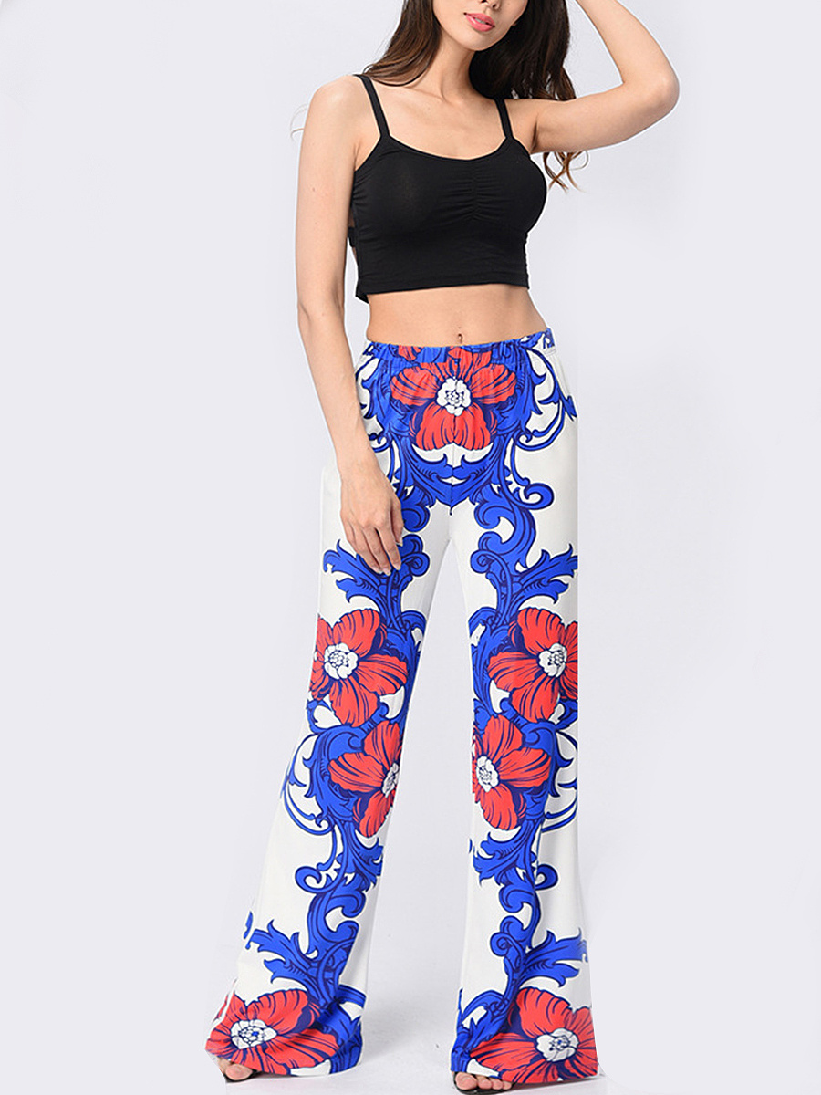 Floral Printed  Wide-Leg  Mid-Rise Casual Pants