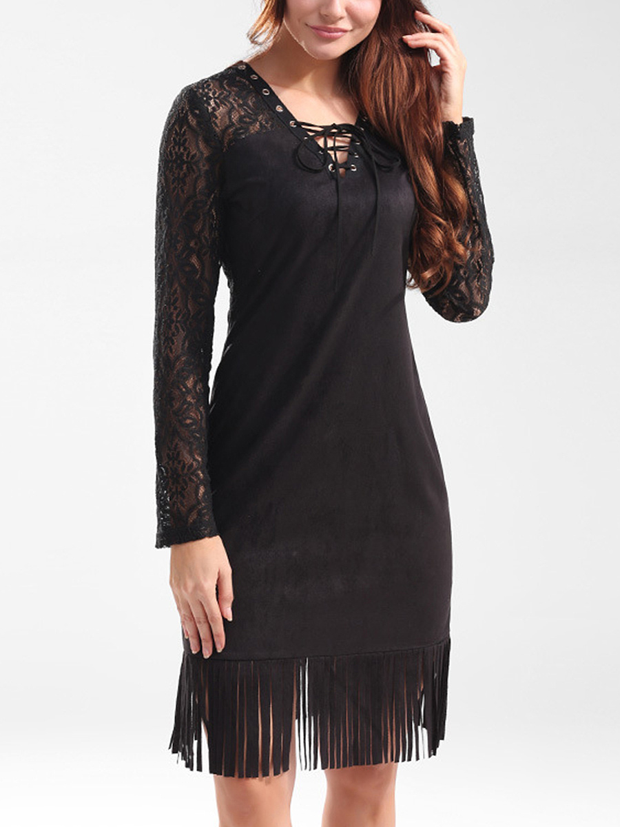 V-Neck Fringe Lace-Up See-Through Solid Bodycon Dress
