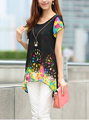 Spring Summer  Chiffon  Women  Round Neck  Asymmetric Hem Patchwork  Floral Hollow Out Printed  Short Sleeve Blouses