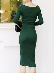 Sexy Two Way Plain Knitted Midi Bodycon Dress
