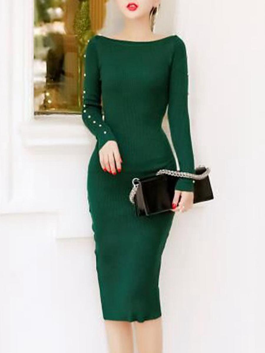 Sexy Two Way Plain Knitted Midi Bodycon Dress