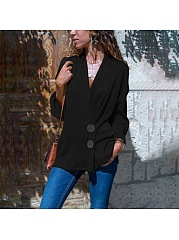 Decorative Button  Plain  Long Sleeve Blazers
