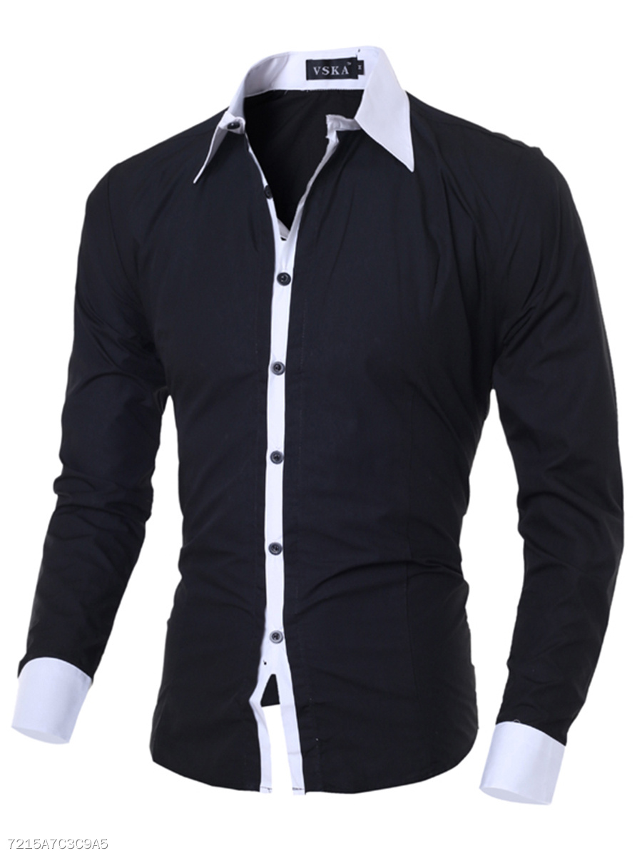 Turn Down Collar  Contrast Trim  Cuffed Sleeve  Long Sleeve Long Sleeves