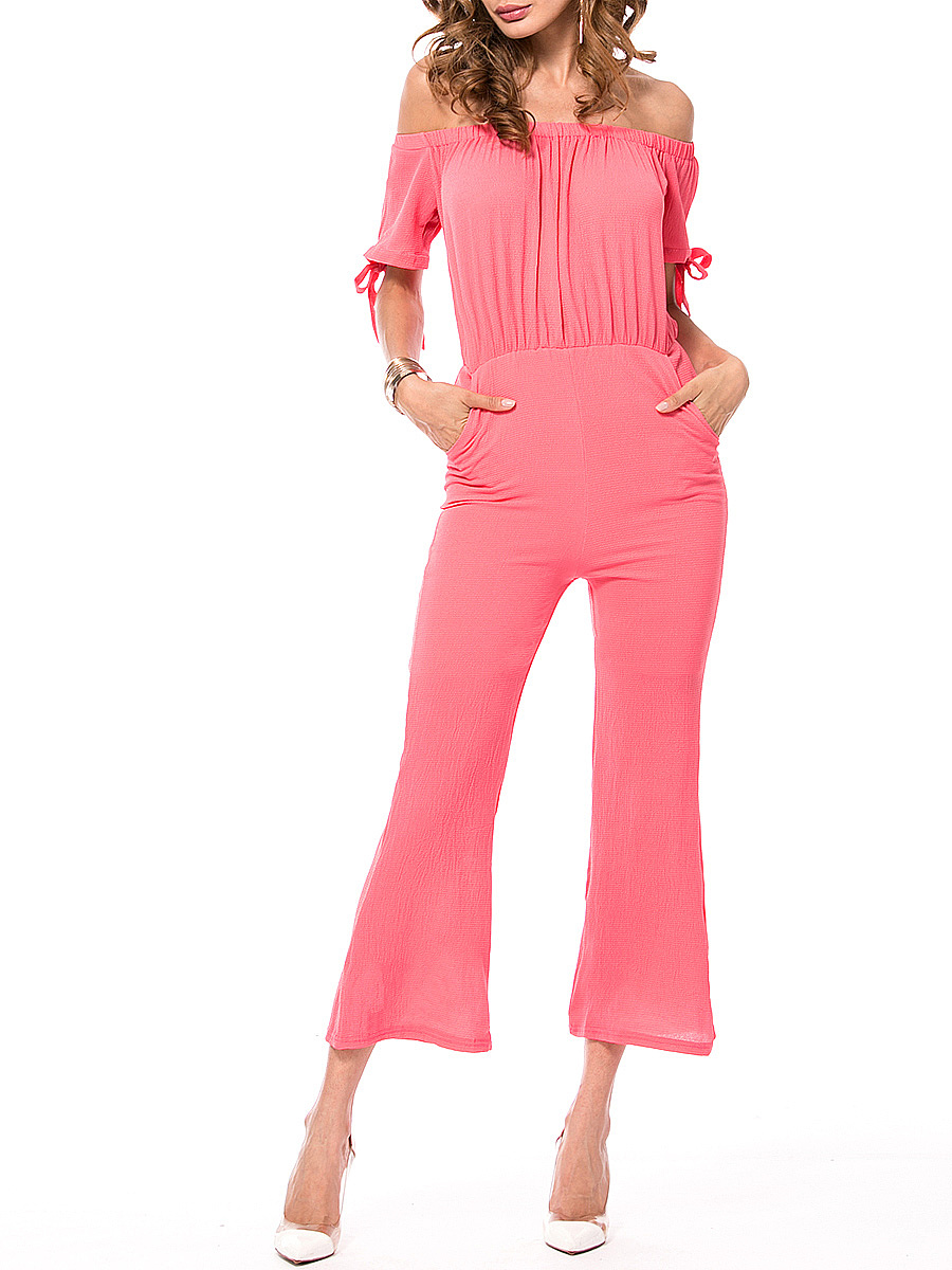 Off Shoulder Pocket Plain Bootcut Jumpsuit With Tie Sleeve
