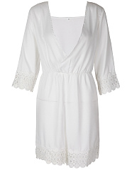 Surplice Decorative Lace Plain Straight Romper