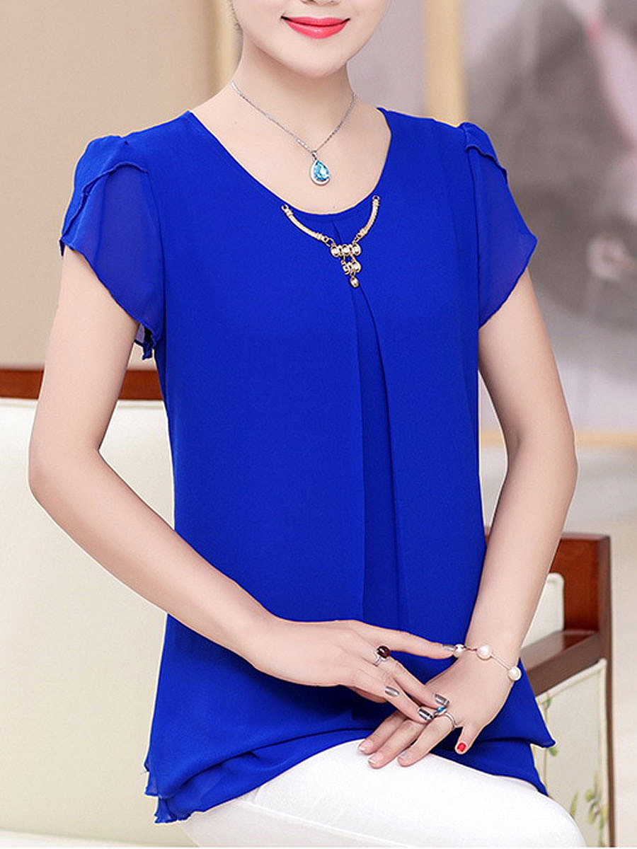 Spring Summer  Chiffon  Women  Round Neck  Plain  Short Sleeve Blouses