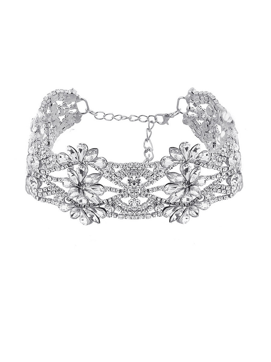 High-Quality Flower Modeling Rhinestone Choker