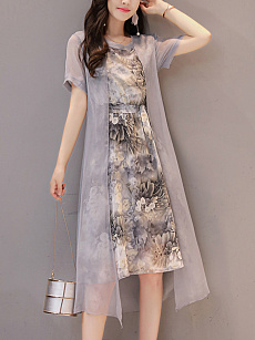 Round Neck  Belt Fake Two-Piece  Printed Maxi Dress