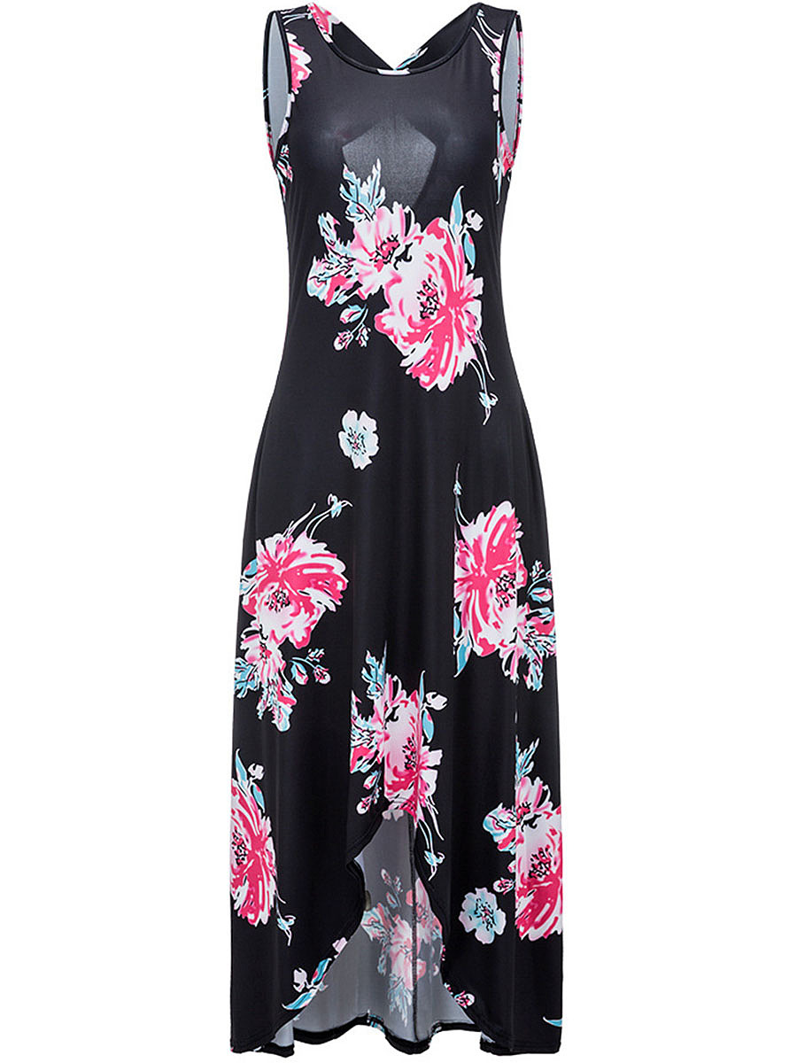 Round Neck Floral Printed High-Low Back Hole Maxi Dress
