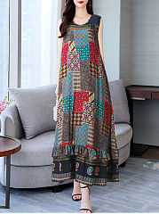 Round Neck  Bohemian Printed Maxi Dress