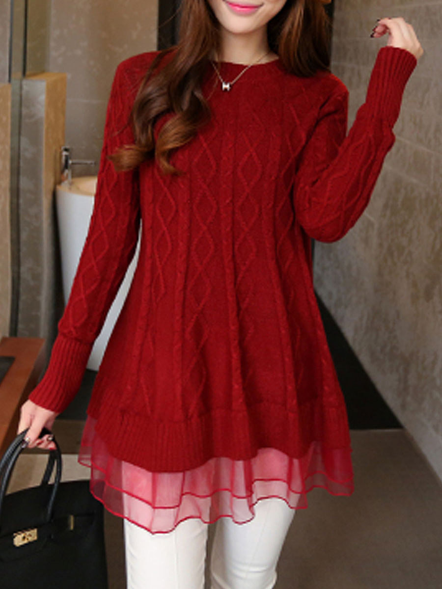 Round Neck  Ruffled Hem  Plain  Long Sleeve Sweaters Pullover