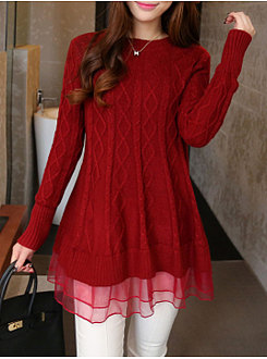 Patchwork Long Red Knitwear