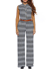Black-White-Band-Collar-Belt-Geometric-Wide-Leg-Jumpsuit