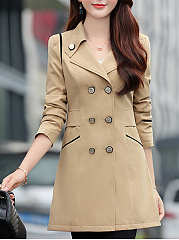 Notch Lapel  Double Breasted  Decorative Button  Plain  Long Sleeve Trench Coats