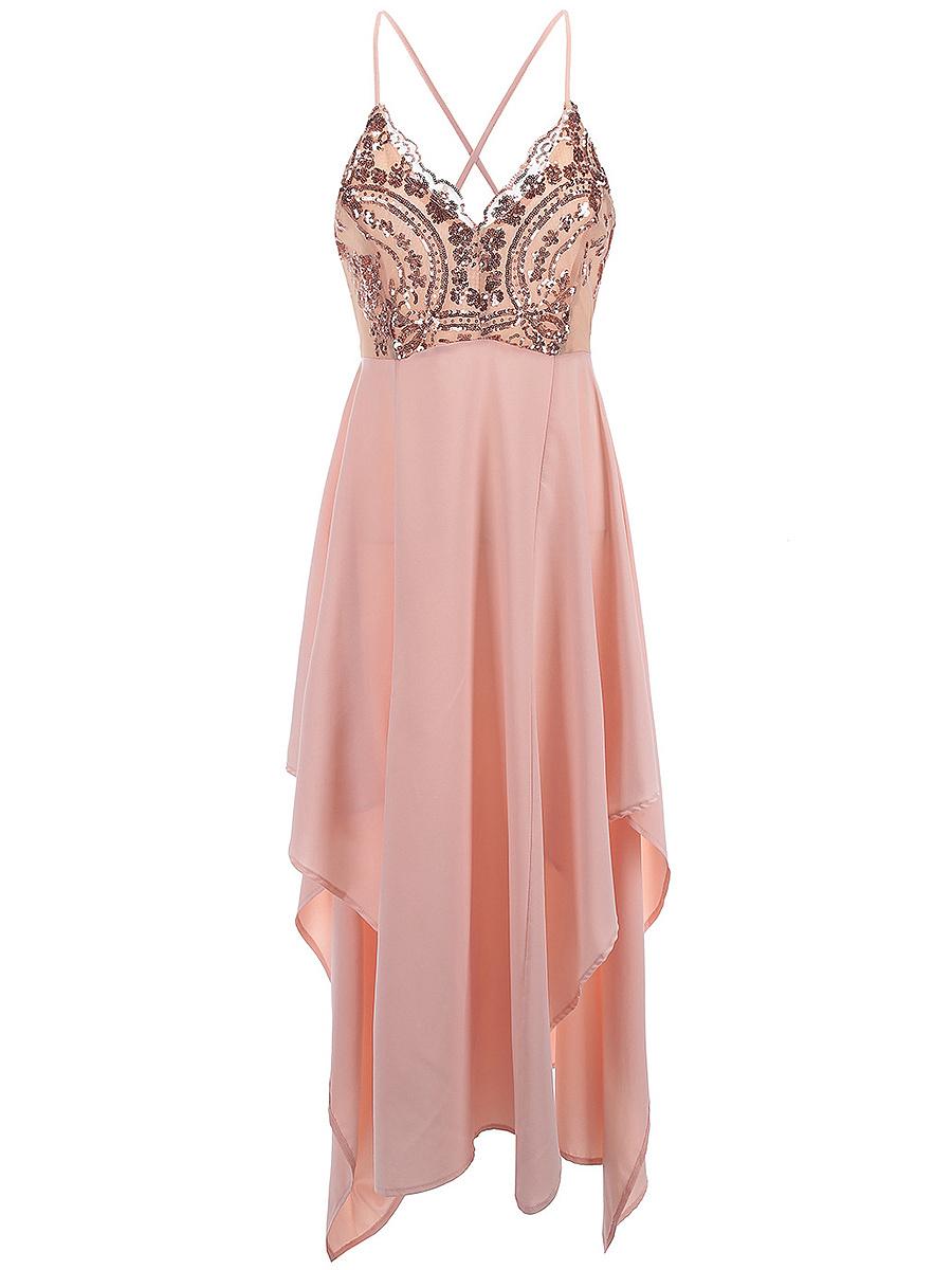 Spaghetti Strap Glitter Asymmetric Hem Plain Evening Dress