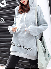 Autumn Spring  Cotton Blend  Letters Plain  Raglan Sleeve  Long Sleeve Hoodies