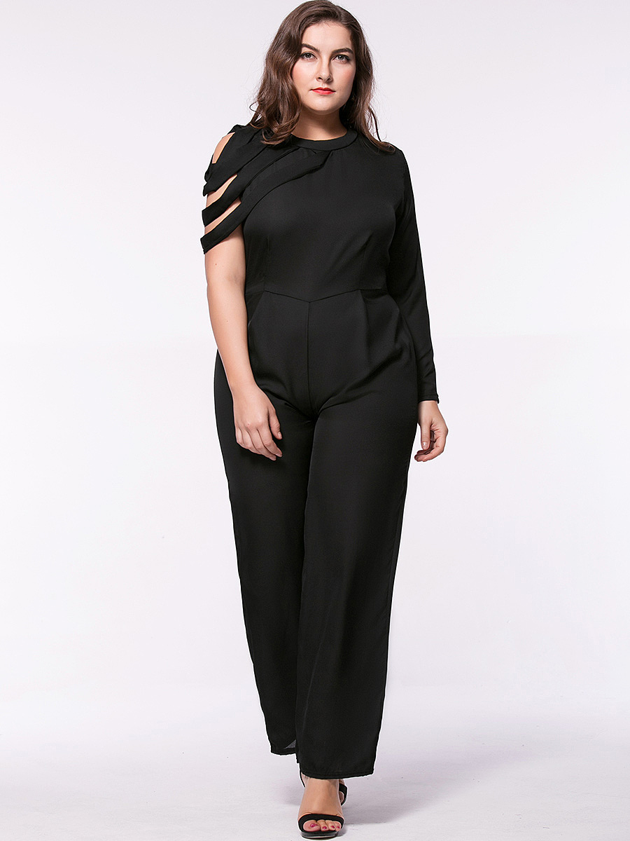 Trendy Designed Crew Neck Solid Straight Chiffon Plus Size Jumpsuit