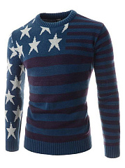 Round Neck Star Striped Men Sweater
