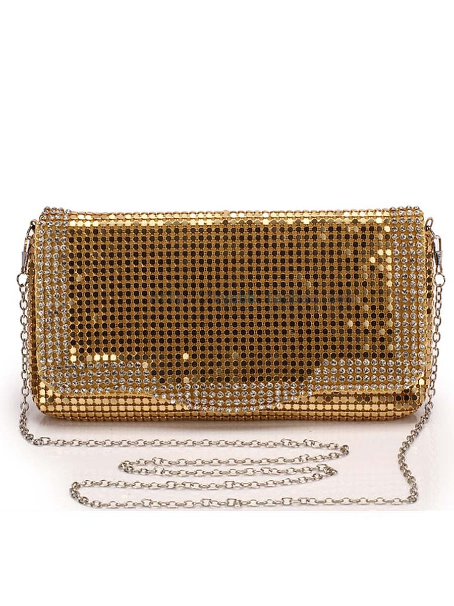 Gold Rhinestone Glitter Clutch Bag