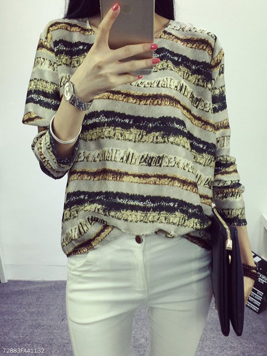Autumn Spring  Polyester  Women  Round Neck  Printed Striped Long Sleeve T-Shirts