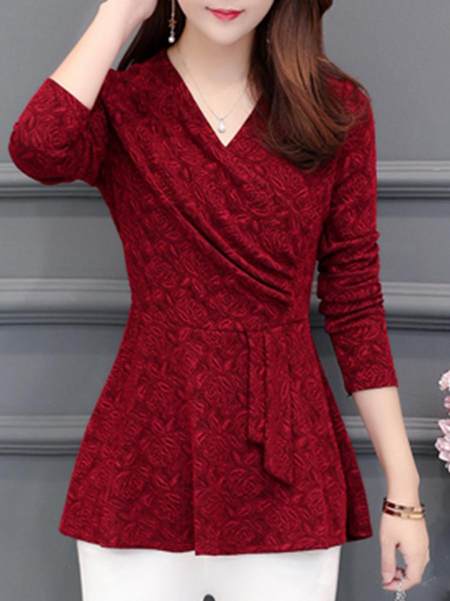 Autumn Spring  Polyester  Women  V-Neck  Floral Plain  Long Sleeve Blouses