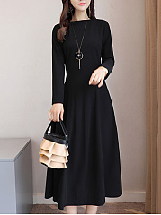 Crew Neck Plain Maxi Dress