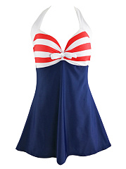 Halter  Bowknot  Striped Skirted One Piece