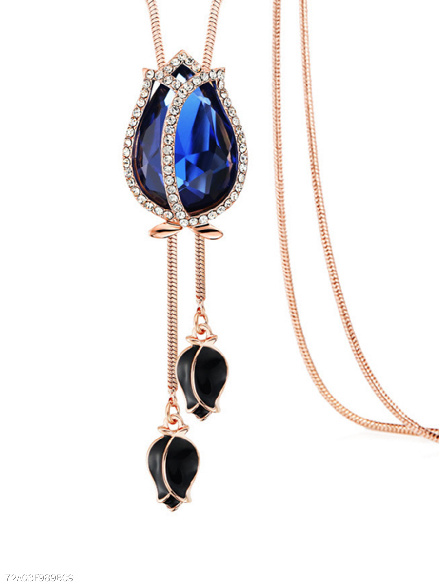 Blue Imitated Crystal Rose Long Necklace