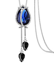 Blue Crystal Rose Long Necklace