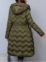 Hooded Drawstring Flap Pocket Plain Zigzag Striped Padded Coat