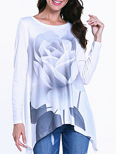 Autumn Spring  Women  Floral Long Sleeve T-Shirts