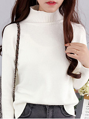 High Neck  Patchwork  Plain Knit Pullover
