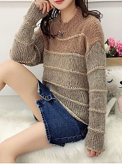 Round Neck  Gradient Striped  Long Sleeve Sweaters Pullover