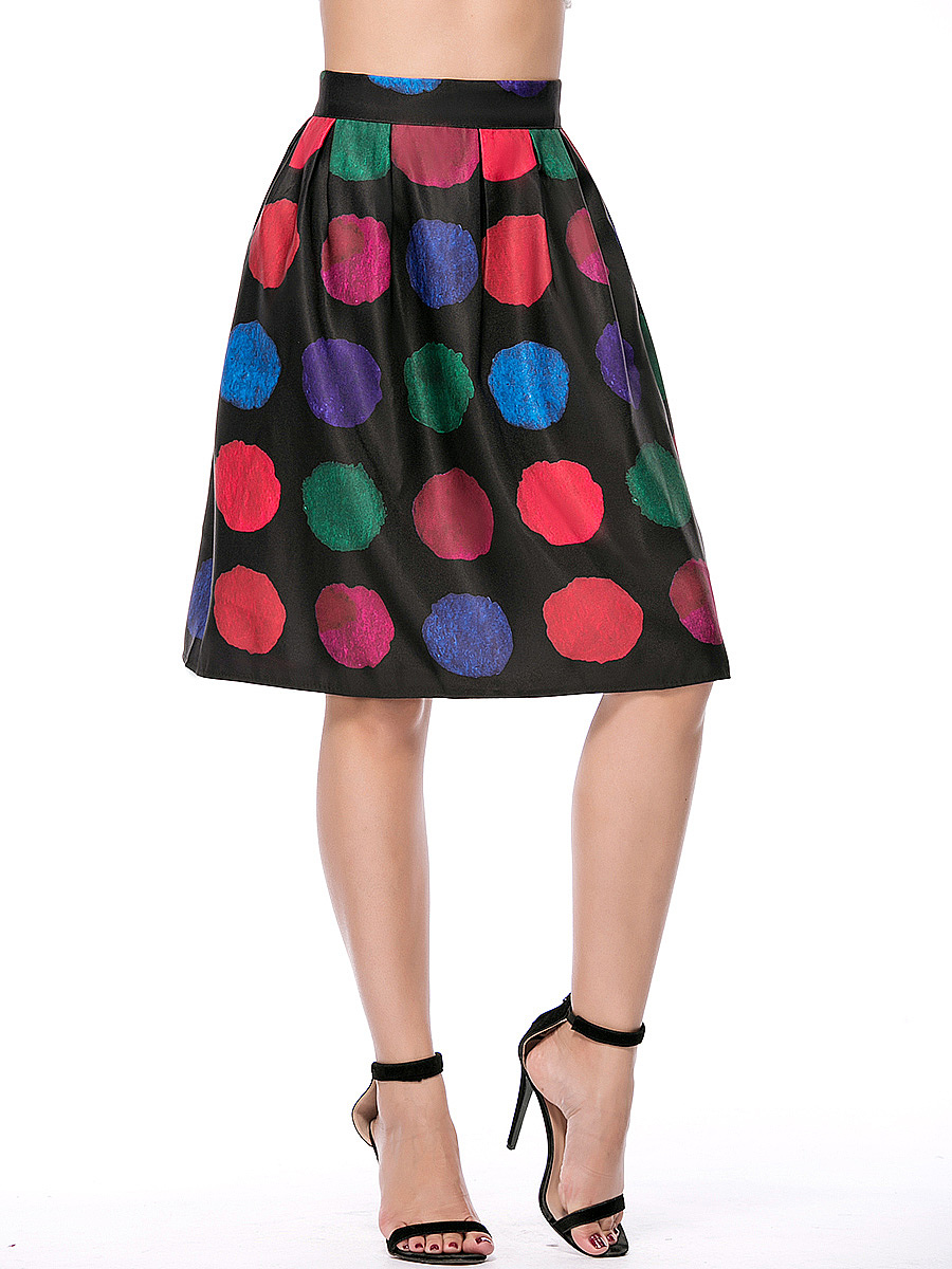 Color Block Polka Dot Elastic Waist Flared Midi Skirt