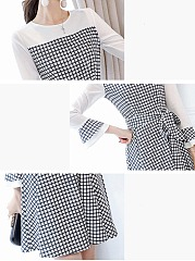 Round Neck Plaid Bowknot Bell Sleeve Skater Dress